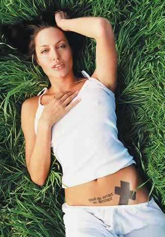 Tatto Quotes on Me     Angelina Jolie S Tattoo  In Rebus  Use The Power Of Latin