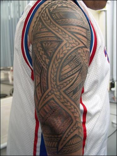 maori full on arm with tribal tattoo concept design