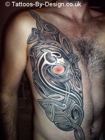 Celtic half chest plate finished tattoo for Chest plate tattoos