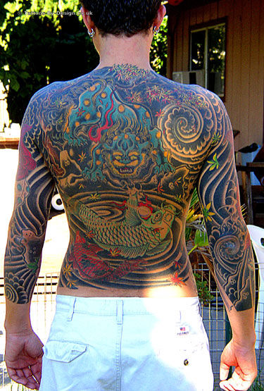 japanese body suit back tattoo. Black Bedroom Furniture Sets. Home Design Ideas