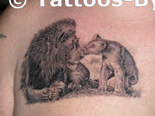 Lion and cub tattoo for Lion and cub tattoo