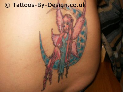 fairy on moon tattoo. Black Bedroom Furniture Sets. Home Design Ideas