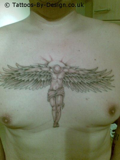 Labels: angel tattoo art on the central chest