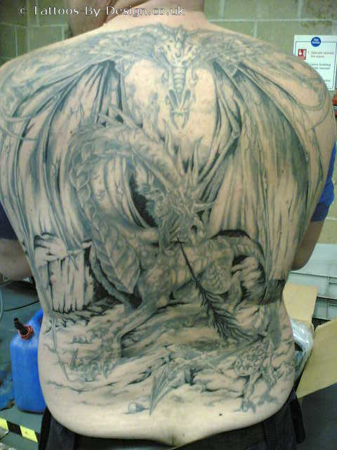 knight fighting dragon tattoo
