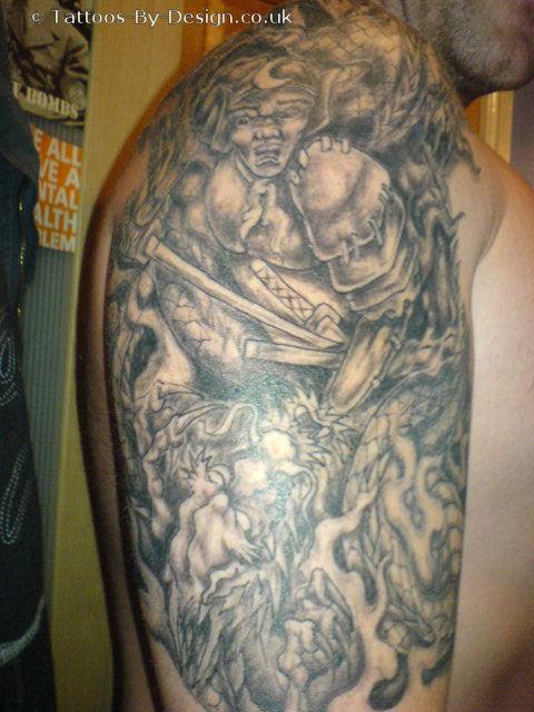 Samurai dragon freehand tattoo for Dragon and samurai tattoo meaning